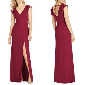 6810 AFTER SIX V-Neck Ruffle Sleeve Evening DRESS